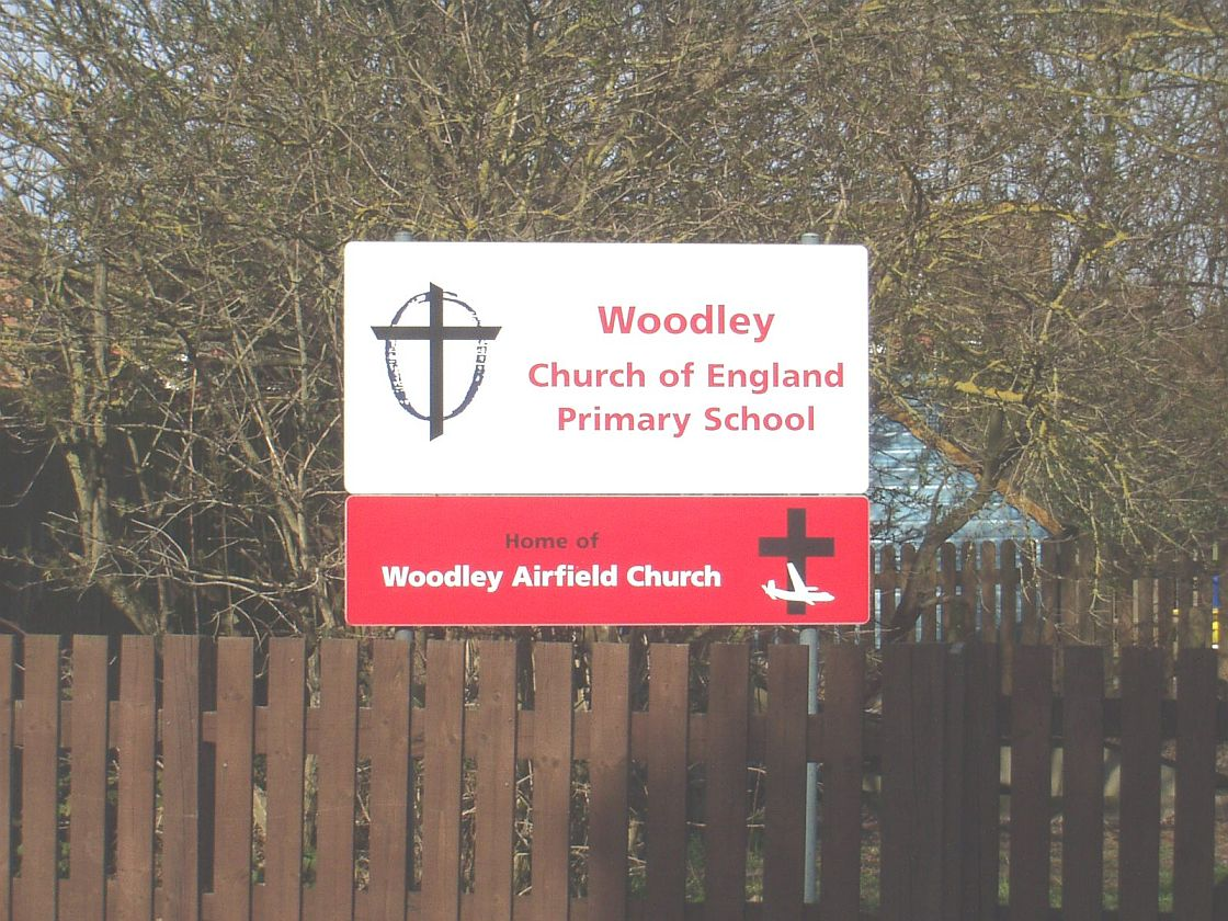 Woodley Airfield Church signage